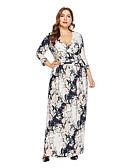 baratos Vestidos Plus Size-Mulheres Moda de Rua / Elegante Bainha / balanço Vestido - Estampado, Floral Longo