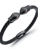 cheap Men's Belt-Men's Braided Cuff Bracelet Leather Bracelet Loom Bracelet 18K Gold Plated Titanium Steel Snake Head Unique Design Trendy Bracelet Jewelry Gold / Black For Daily Street