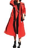 baratos Trench Coats e Casacos Femininos-Mulheres Para Noite Activo Maxi Casaco Longo, Sólido Gola Dobrada Manga Longa Poliéster Vermelho M / L / XL