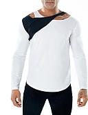 お買い得  メンズTシャツ&タンクトップ-男性用 パッチワーク Tシャツ ベーシック ラウンドネック スリム カラーブロック コットン ホワイト L / 長袖