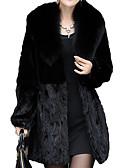 cheap Women's Fur & Faux Fur Coats-Women's Daily Basic Long Fur Coat, Solid Colored V Neck Long Sleeve Polyester Black XXL / XXXL / XXXXL