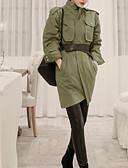 povoljno Ženske hlače-Žene Dnevno Normalne dužine Jakna, Jednobojni Okrugli izrez Dugih rukava Pamuk / Poliester Vojska Green M / L / XL