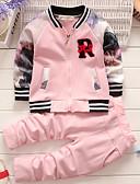 levne Dětské bundičky a kabátky-Dítě Dívčí Základní Denní Jednobarevné / Tisk Dlouhý rukáv Standardní Bavlna Sady oblečení Bílá / Toddler