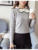 ieftine Tricou-Pentru femei Sfârșit de săptămână Mată Manșon Lung Zvelt Regular Plover, Stil Nautic Negru / Gri / Roșu Vin Mărime unică