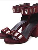 hesapli Gömlek-Kadın's Sandaletler Konforlu Ayakkabılar Kalın Topuk PU Yaz Siyah / Pembe / Kırmızı Şarap