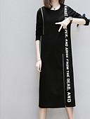 رخيصةأون فساتين طويلة-فستان نسائي على شكل تيشيرت طول الركبة أحرف
