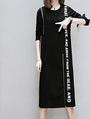 ieftine Tricou-Pentru femei Tricou Rochie Scrisă Lungime Genunchi