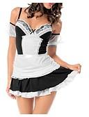 זול PU & SM-מדים שמלות בגדי ריקוד נשים מבוגרים מדי חדרניות חג ליל כל הקדושים האלווין (ליל כל הקדושים) קרנבל נשף מסכות פסטיבל / חג תלבושות שחור צבוע בטוויה משובץ