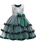 preiswerte Kleider für die Blumenmädchen-Kinder Mädchen Aktiv / Süß Weihnachten / Party / Festtage Patchwork Spitze Ärmellos Knielang Kleid Rote 140