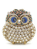 preiswerte Abendkleider-Damen Taschen Aleación Unterarmtasche Kristall Verzierung / Ausgehöhlt Tier Schwarz / Marinenblau / Silber