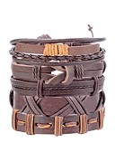 cheap Men's Blazers & Suits-Men's Retro Braided Leather Bracelet Loom Bracelet - Leather Leaf, Owl Statement, Fashion Bracelet Black / Brown / Dark Red For Street Bar