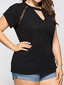 billige Topper til damer-Løstsittende V-hals Store størrelser T-skjorte Dame - Ensfarget