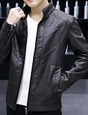 cheap Men's Jackets & Coats-Men's Going out Spring &  Fall / Winter Regular Jacket, Solid Colored Stand Long Sleeve Polyester Black / Wine / Light Brown XXL / XXXL / 4XL