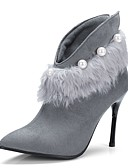 cheap Print Dresses-Women's Bootie Suede Fall & Winter Vintage Boots Stiletto Heel Pointed Toe Booties / Ankle Boots Imitation Pearl Black / Gray / Party & Evening