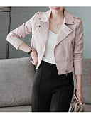 preiswerte Damen Leder- & Kunstlederjacken-Damen Alltag Standard Lederjacken, Solide Hemdkragen Langarm PU Schwarz / Rosa M / L / XL
