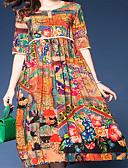 tanie Print Dresses-Damskie Boho Linia A Sukienka - Kwiaty, Nadruk Midi