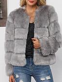 billige Kvinner Fur & Faux Fur Coats-kvinners faux pels pels - solid farget