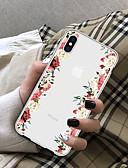 Недорогие Защитные плёнки для экрана iPhone-Кейс для Назначение Apple iPhone X / iPhone 8 Pluss / iPhone 8 Прозрачный Кейс на заднюю панель Цветы Мягкий ТПУ