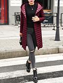 olcso Női hosszú kabátok és parkák-Női Utcai sikk Kosaras Egyszínű
