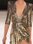 cheap Party Dresses-Women's Going out / Birthday Slim Sheath Dress Deep V Summer Gold Black M L XL