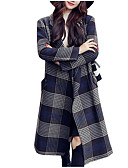 cheap Women's Coats & Trench Coats-Women's Daily Basic Long Coat, Plaid / Checkered Notch Lapel Long Sleeve Polyester Blue L / XL / XXL
