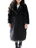 povoljno Jakne i kaputi za djevojčice-Djeca Djevojčice Osnovni Jednobojni Dugih rukava Umjetno krzno Jakna i kaput Crn