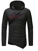 お買い得  メンズTシャツ&タンクトップ-男性用 Tシャツ フード付き ソリッド / カモフラージュ ブラック XL / 長袖