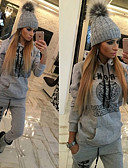 cheap Women's Two Piece Sets-Women's Pocket Tracksuit - Black, Gray Sports Letter Hoodie / Pants / Trousers Running, Fitness, Gym Long Sleeve Activewear Lightweight, Breathable, Quick Dry Stretchy Slim / Winter