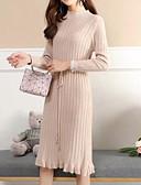 זול שמלות נשים-נשים יוצאים סוודר רזה / שמלת צעיף midi צוות הצוואר