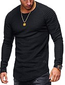 cheap Men's Pants & Shorts-Men's T-shirt - Solid Colored Round Neck / Long Sleeve
