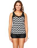 cheap Women's Swimwear & Bikinis-Women's Basic Tankini - Striped Black & White, Racerback Boy Leg