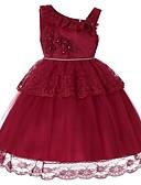 hesapli Kız Çocuk Etekleri-Çocuklar Toddler Genç Kız Actif Tatlı Parti Tatil Solid Kolsuz Diz-boyu Elbise YAKUT