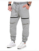olcso Férfi nadrágok és rövidnadrágok-Férfi Pamut Vékony Melegítőnadrágok Nadrág - Egyszínű Fekete