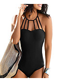 cheap One-piece swimsuits-Women's Sporty Basic Halter Neck Blue Black Wine Triangle Cheeky One-piece Swimwear - Solid Colored Backless M L XL Blue / Super Sexy