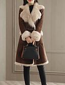 olcso Női szőrme és műszőrme kabátok-a nők hosszú szőrű kabátja - tömör színű peter gallér