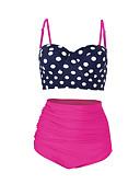 cheap Bikinis-Women's Basic Strap Navy Blue High Waist Tankini Swimwear - Polka Dot Backless XL XXL XXXL Navy Blue