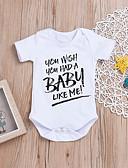 billige BabyGutterdrakter-Baby Gutt Aktiv / Grunnleggende Daglig / Ferie Trykt mønster Trykt mønster Halvlange ermer Bomull Body Hvit