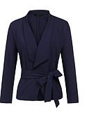 cheap Women's Blazers-Women's Daily Short Blazer, Solid Colored Shirt Collar Long Sleeve Polyester Navy Blue / Yellow / Wine XL / XXL / XXXL