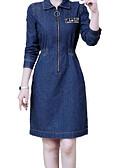 cheap Women's Dresses-Women's Weekend Basic Denim Dress - Letter Shirt Collar Blue L XL XXL