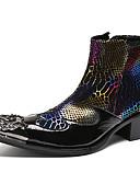 olcso Férfi pólók-Férfi Ruha cipő Nappa Leather Tél Brit Csizmák Melegen tartani Bokacsizmák Fekete / Bor / Party és Estélyi