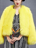 cheap Women's Fur & Faux Fur Coats-Women's Work / Party / Cocktail Street chic / Sophisticated Winter Plus Size Regular Fur Coat, Solid Colored Round Neck Long Sleeve Faux Fur / Spandex Yellow XL / XXL / XXXL / Sexy / Loose