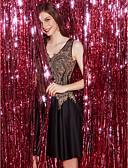 preiswerte Abendkleider-A-Linie V-Ausschnitt Kurz / Mini Spitze / Tüll Cocktailparty Kleid mit Applikationen durch TS Couture®