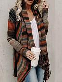 cheap Women's Sweaters-Women's Daily Street chic Tassel / Stripe Striped Long Sleeve Regular Cardigan Fall & Winter Orange / Gray / Light gray M / L / XL