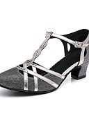 cheap Plus Size Dresses-Women's Modern Shoes Synthetics Heel Buckle / Sided Hollow Out Thick Heel Dance Shoes Gold / Black / Silver Gray