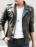 cheap Men's Jackets & Coats-Men's Daily Fall Short Leather Jacket, Solid Colored Turndown Long Sleeve PU Black / Army Green XXL / XXXL / 4XL