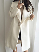 cheap Women's Coats & Trench Coats-Women's Daily Basic Long Trench Coat, Solid Colored Turndown Long Sleeve Wool White / Pink L / XL / XXL