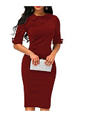 cheap Work Dresses-Women's Casual / WorkWear Pencil Edge / Basic Bodycon / Shift Dress Shirt Collar Wine Army Green Royal Blue M L XL