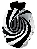 cheap Men's Hoodies & Sweatshirts-Men's Plus Size Basic Hoodie - Striped / Color Block / 3D Hooded Black US42 / UK42 / EU50