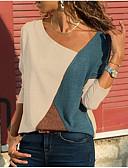 hesapli Gömlek-Kadın's V Yaka Tişört Zıt Renkli Temel Büyük Bedenler Beyaz