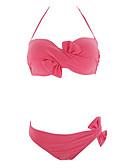 cheap Bikinis-Women's Basic Halter Neck Red Purple Yellow Bandeau Cheeky Bikini Swimwear - Solid Colored S M L Red